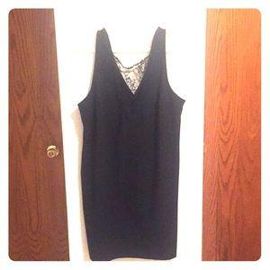 Deep V lace neckline little black dress